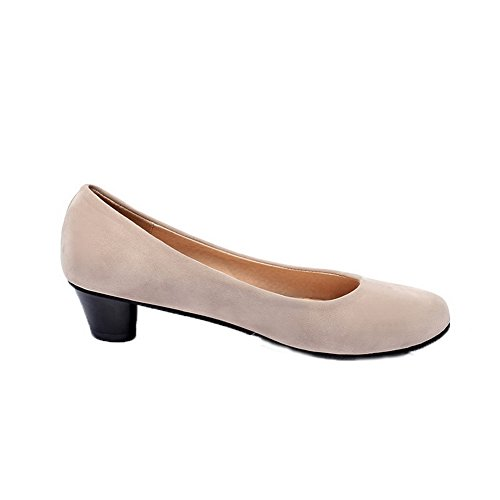 On Pull Heels Women's Beige Shoes Imitated Pumps Low Toe Suede VogueZone009 Round wTqHYC