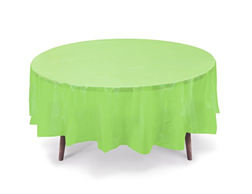 """5 PACK, 84"""" Lime Green Round Plastic Table Cover, Plastic Table Cloth Reusable (PEVA) (Lime Green)"""