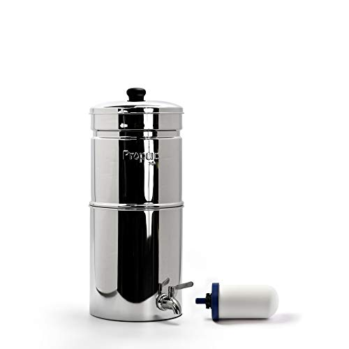 Propur Traveler Countertop Gravity Water Filter System - Removes Fluoride, Lead, Chlorine, Microplastics, and More - Includes 1 ProOne 5-inch Filter Element - Use in Your Home or Office. ()