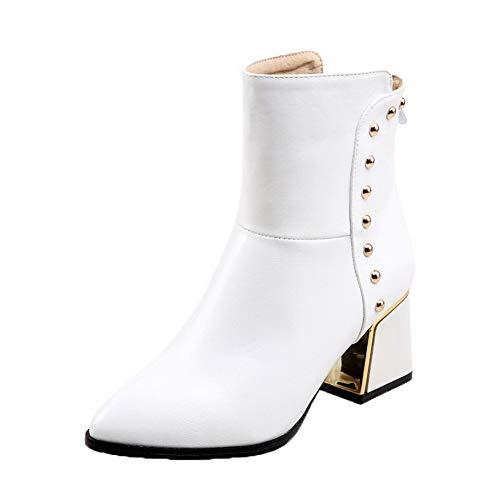 Bianco chiusi Zipper punta tsmxh025066 Stivali Aalardom con Heel chiusa Women Mid yvqIH