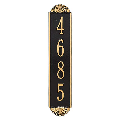 (Customizable Modern Vertical 12? House Numbers Wall Address Plaque Shell Pattern Adds Instant Curb Appeal for Outdoor Home Decor Personalized with Up to 4 Numbers Easy to Read 911 Sign (BronzeGold) )