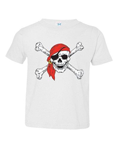 P&B Pirate Skull Red Bandanna Toddler T-Shirt, 3T, White ()