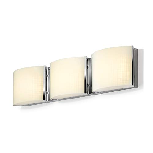3-Light Chrome Vanity Fixture - LED Bathroom Mirror Lamp, Textured Linen Glass, Hardwire, Damp Located, Fully Dimmable - ETL -