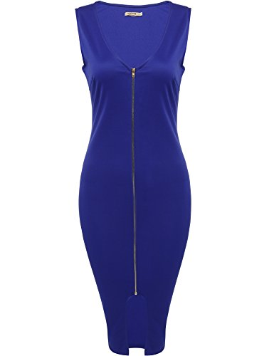 ANGVNS Women Zip-Front Bodycon Party Club Evening/Sexy V-Neck Sleeveless Solid Tunic Split Tank Elastic Package Hip Dress,Blue,Large (Zipper Front Pleated Dress)
