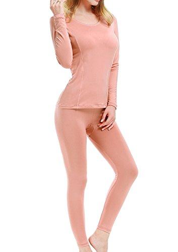 HuoGuo Women's Fleece Lined Soft Thermal Underwear Long Johns Set Top & Bottom (Halloween Makeup Tutorial Fx)
