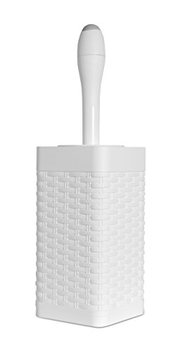 Square Free Standing Toilet Brush and Holder Color: White (White Wicker Bathroom Accessories)