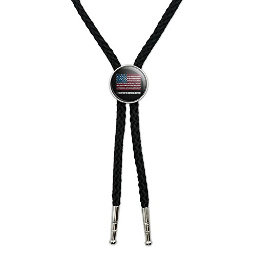 I Stand USA National Anthem Star-Spangled Banner American Flag Patriotic Western Southwest Cowboy Necktie Bow Bolo Tie