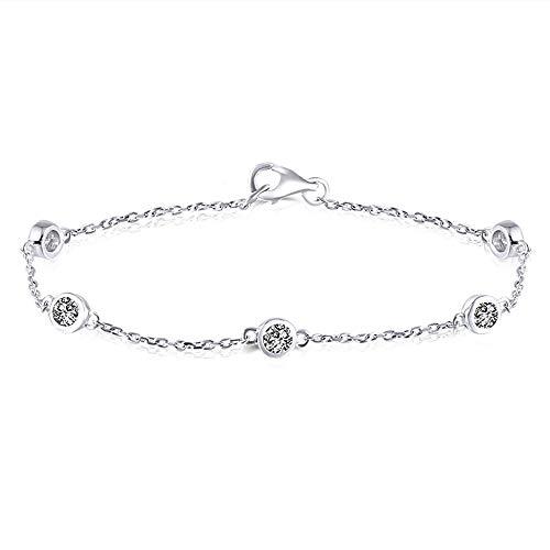 - DovEggs Solid 14K White Gold 0.5ct FG Color Heart Arrows Cut Moissanite Bracelet Bezel Set Link Chain for Women 17cm Length