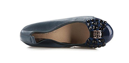Bow Stylish Round Low Flats Sapphire CHFSO Toe On Shoes Slip Heel Low Top Womens Rhinestone ZwCxtSTq