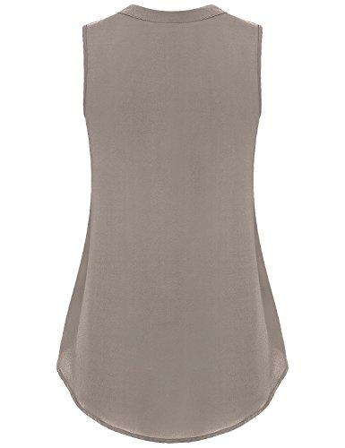 Lyking Women's Henley V Neck Sleeveless Curved Hem Chiffon Blouse Shirts Tank Tops (L, Coffee) by Lyking (Image #2)