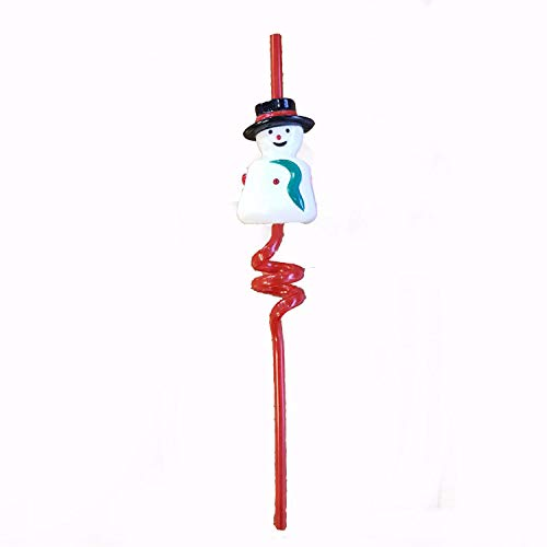 TRIXES Christmas Flashing Spiral Snowman Drinking Straw - Speaks a Festive Message When Sipped