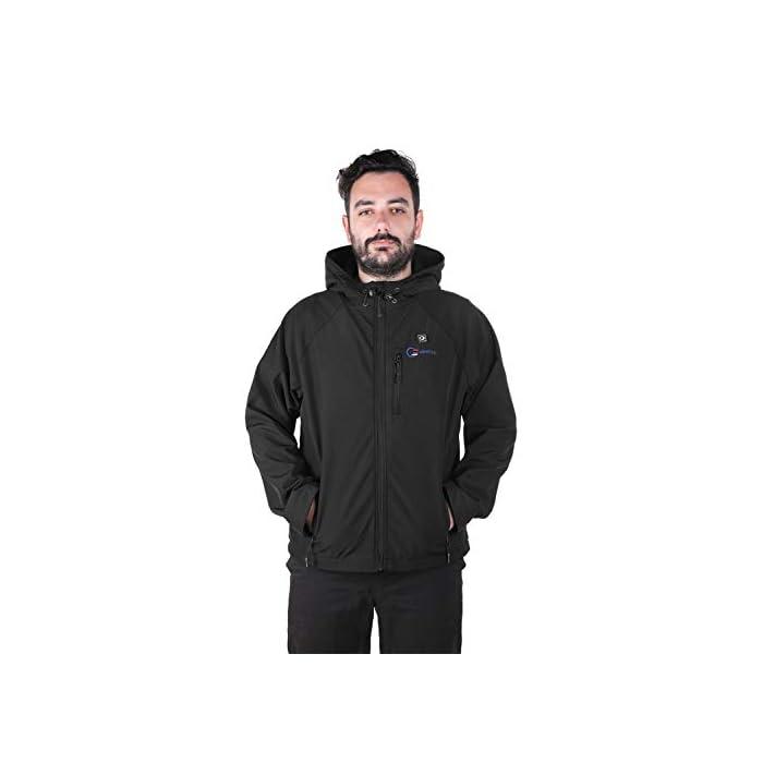 31pRiCNY7XL 4 Grandes Zonas de Calentamiento: La chaqueta térmica OUTCOOL tiene elemento de calefacción en 4 zonas: pecho izquierdo, pecho derecho, espalda y cuello. Tecnología de calentamiento rápido de alta calidad, que se calientan rápidamente durante los períodos fríos al emitir una buena cantidad de calor 4 Modos de Control de Temperatura: La chaqueta térmica calentada tiene 4 modos de control de temperatura de diseño: ① Precalentamiento: luz roja intermitente, calentamiento rápido; ② temperatura alta: luz roja; ③ temperatura media: luz blanca ; ④ temperatura baja: luz azul Capa Exterior Impermeable y Forro Polar: La chaqueta térmica térmica tiene una capa exterior hecha de tela impermeable a prueba de viento y tiene un buen efecto protector en el mal tiempo; el forro interior es de felpa, más abrigado y muy adecuado para escalada al aire libre, esquí, motociclismo, etc.