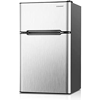 Euhomy Mini Fridge with Freezer, 3.2 Cu Ft 2 Door Upright Compact  Refrigerator with Freezer Ideal Food and Drink Storage Mini Refrigerator  for Home, ...