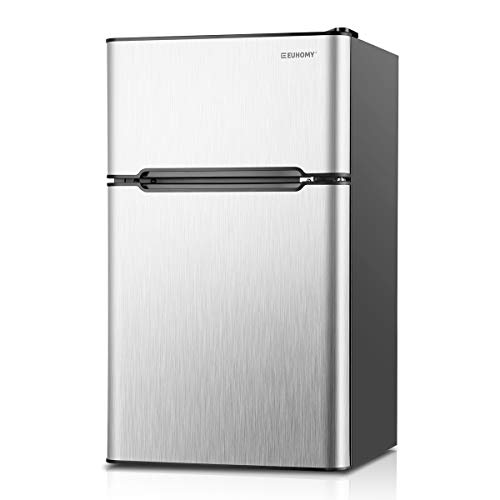 Euhomy Compact Mini Fridge with Freezer, 3.2 Cu.Ft 2-Door Under Counter Refrigerator with Freezer Ideal Food and Drink Storage Mini Refrigerator for Kitchen, Dorm, Apartment And Office.