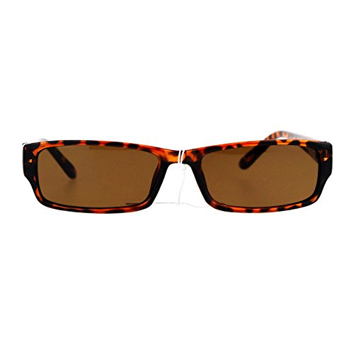 Mens Small Face Snug Fit Color Lens Rectangular Plastic Frame Sunglasses Tortoise