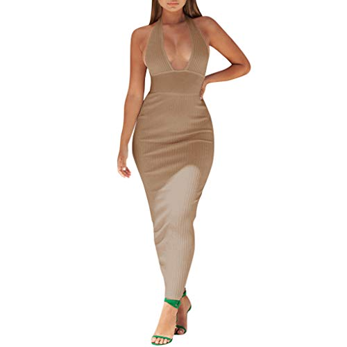 Pitauce Women Sexy Long Maxi Dress Convertible Wrap Halter Cocktail Dress Solid Color Bridesmaid Dress \n Khaki