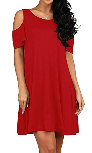 (TWKIOUE Women's Summer Cold Shoulder Tunic Top Swing T-Shirt Loose Dress with Pockets Red S)