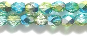 Preciosa Czech Fire 4 mm Faceted Round Polished Glass Bead, 2-Tone Bright Green/Aqua 1/2 Silver, 200-Pack