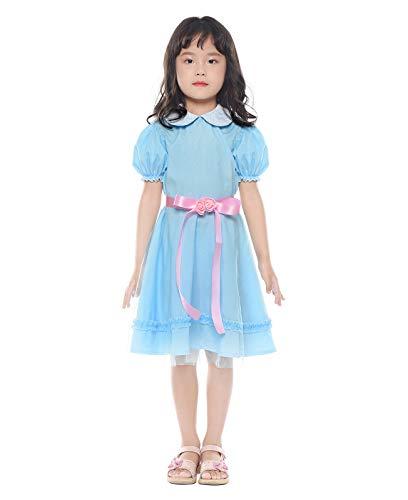 Nuoqi Girls Sweet Lolita Dress Blue Cotton Bow Puff Skirts Halloween Costumes