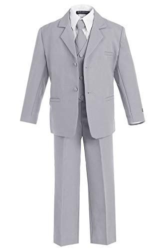 - iGirlDress Boys Formal Dress Suit with Shirt and Vest Silver XL
