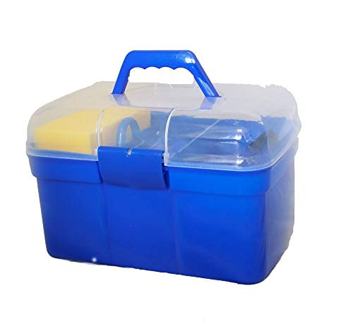 AJ Tack Wholesale Horse Grooming Box 9 Piece Set Brushes Sweat Scraper Rubber Massage Curry Mane and Tail Comb Hoof Pick Sponge Clear Plastic Box Blue by AJ Tack Wholesale (Image #1)