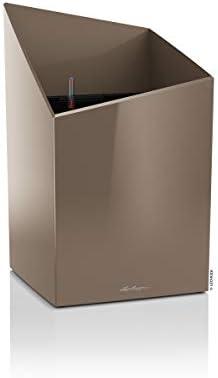 LECHUZA CURSIVO Premium 30 hochwertiges Pflanzgefäß mit Erd-Bewässerungs-System, taupe hochglanz, 30x30x49 cm