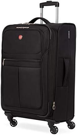 SwissGear 4010 Softside Luggage with Spinner Wheels, Black, Checked-Medium 23-Inch