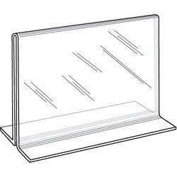 5 Plastic Acrylic (Clear-Ad - LHC-75 - Double Sided Acrylic Upright T-Shaped Sign Holder 7x5 - Table Menu Card Display Stand - Plastic Picture Frame in Bulk (Pack of 6))