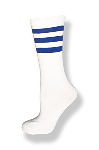 (Neon Nation Unisex Calf High White Sock w/Three Stripes (White w/Royal Blue)