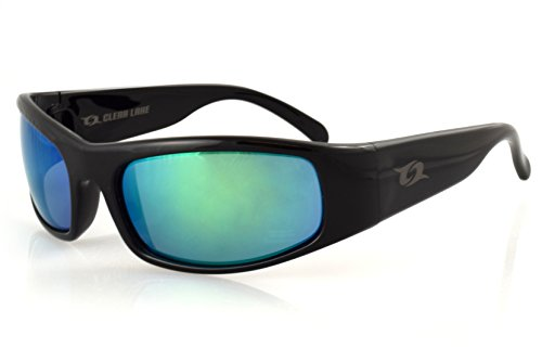 Clear Lake Manatee Sport Polarized Sunglasses (Black, Smoked Polarized w/ Green - Kitesurfing Sunglasses