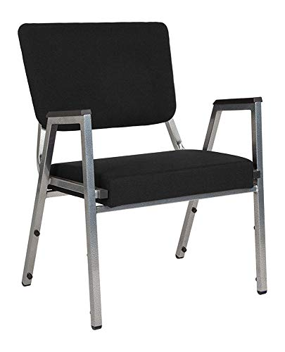 Offex Contemporary Antimicrobial Fabric Bariatric Stackable Arm Chair with 3/4 Panel Back - Black