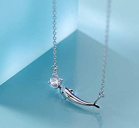 YINLIN S925 Sterling Silver Diamond Mermaid Tail Ocean Animal Pendant Necklace