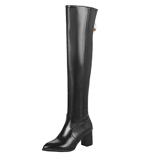 (JOYBI Women's Over The Knee Boots Waterproof Slouchy Side Zipper Wide-Calf Comfy Low Block Heel Thigh High Riding Boots Black)
