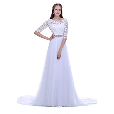 Timeweddingdresses Women's Half Sleeve Princess Lace Wedding Dress