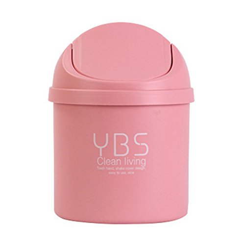 Office Desktop Portable Cute Mini Trash Can Car with Lid Recycle Plastic Desk Garbage Cans for Girls Kids Baby Countertop Cheap Small Plastic Storage Containers for Pen Pencil Drew (Pink)