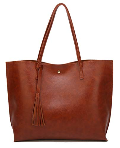 (Women's Soft Faux Leather Tote Shoulder Bag from Dreubea, Big Capacity Tassel Handbag Brown (New Style) )