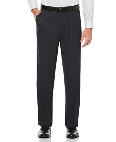 Perry Ellis Men's Classic Fit Elastic Waist Double Pleated Cuffed Pant, Twilight, 32x30