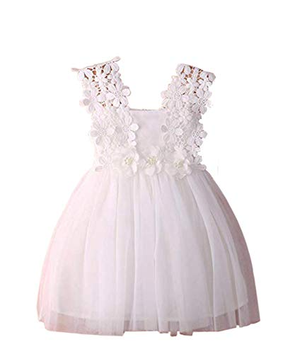 LYXIOF Baby Girls Tutu Dress Toddler Sleeveless Flower Crochet Lace Straps Tulle Sundress White 120CM