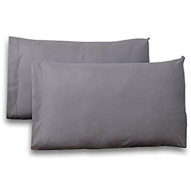 Queen Pure-Cotton Pillow Case Covers - (2-Pack, each 20 inches x 32 inches, Grey) 100% Cotton for Maximum Softness and Easy Care, Elegant Double-Stitched Tailoring - By Utopia Bedding