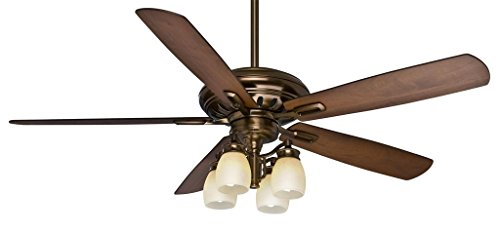 Casablanca 59536 Holliston Gallery 60-Inch Bronze Petina Ceiling Fan with Five Walnut/Burnt Walnut Blades with a Light Kit