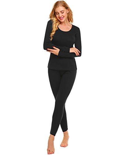 Ekouaer Women's Ski Snow Base Layer Leggings Long Thermal Underwear Set(Black,XXXL) ()
