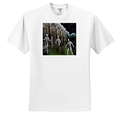 Sandy Mertens Halloween Designs - Zombie Monsters in Graveyard on Halloween Night, 3drsmm - T-Shirts - White Infant Lap-Shoulder Tee (24M) -