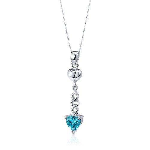 Revoni Ensemble de Lumière - Collier et Boucles d'oreilles pendantes sertis avec Topaze bleu Suisse 3,50 cts. - Inspiration pour femme Coeur - Argent fin 925/1000