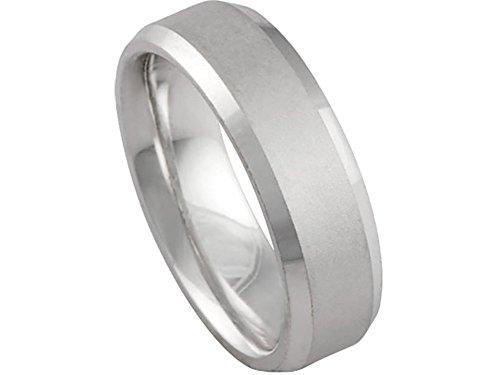 (Men's 14k White Gold Matte Finish Beveled Edge 6mm Comfort Fit Wedding Band Ring size 9)