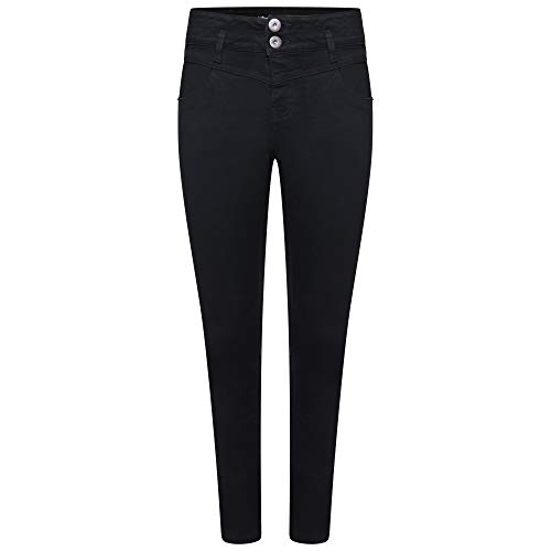 M17 Women Ladies High Waisted Denim Jeans Double Button Casual Cotton Trousers Pants with Pockets