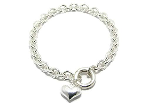 Kyperco Sterling Silver 3D Puffed Big Heart Charm On Chain Link Handmade Bracelet With Round Spring Closure Is A Wedding Jwellery Gift For -