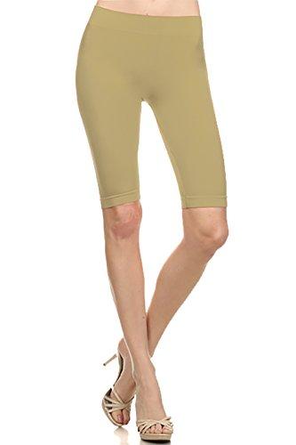Basico Women's Seamless Knee Length Capri Leggings (Khaki)