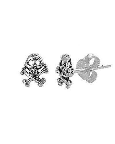 Sterling Silver Skull and Crossbones Unisex Stud Earrings