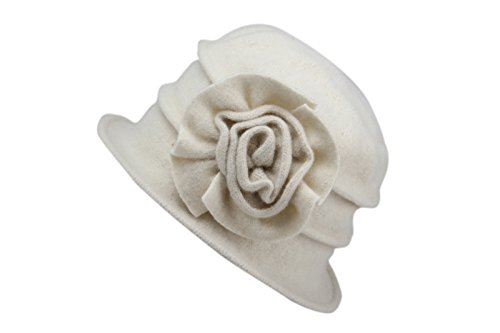 Dantiya Women's Winter Classic Wool Cloche Bucket Hat Warm Cap with Flower Accent (Milk White)