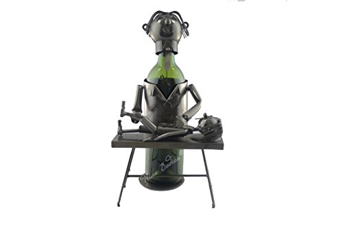 WINE BODIES ZB1250 Chiropractor Metal Bottle Holder, Charcoal